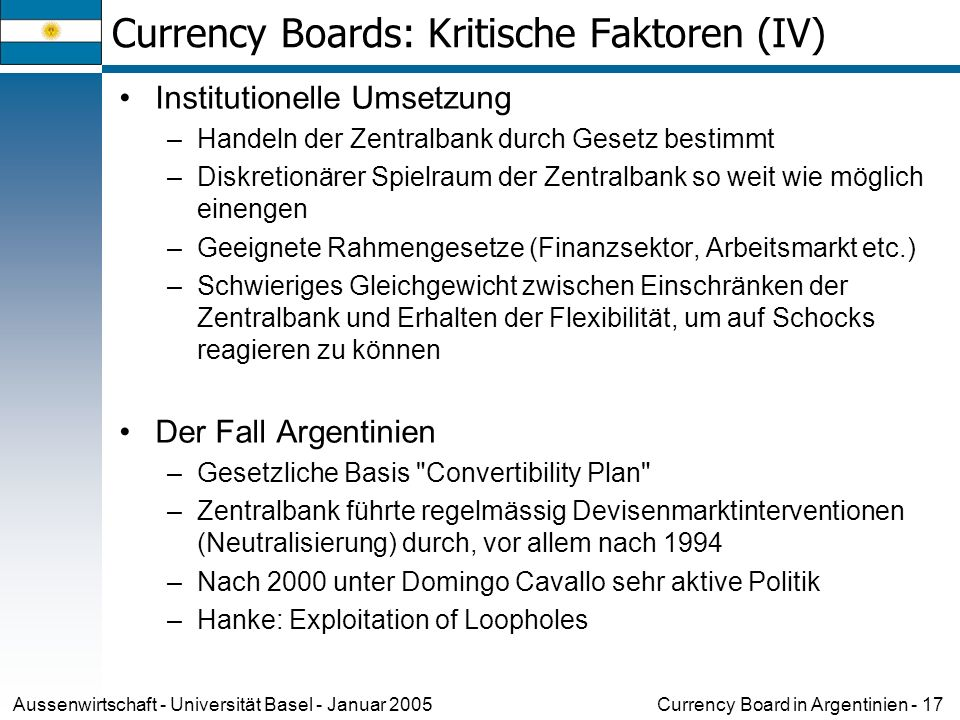 Currency Boards: Kritische Faktoren (IV)