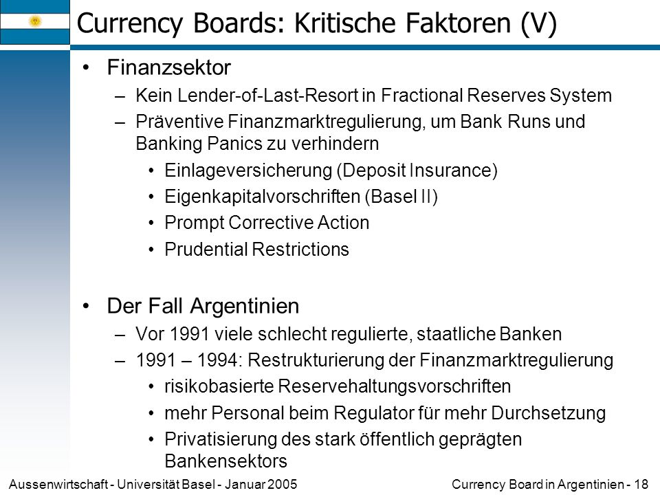 Currency Boards: Kritische Faktoren (V)