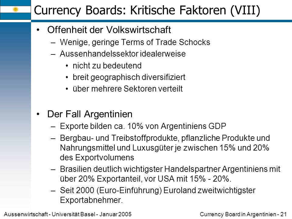 Currency Boards: Kritische Faktoren (VIII)