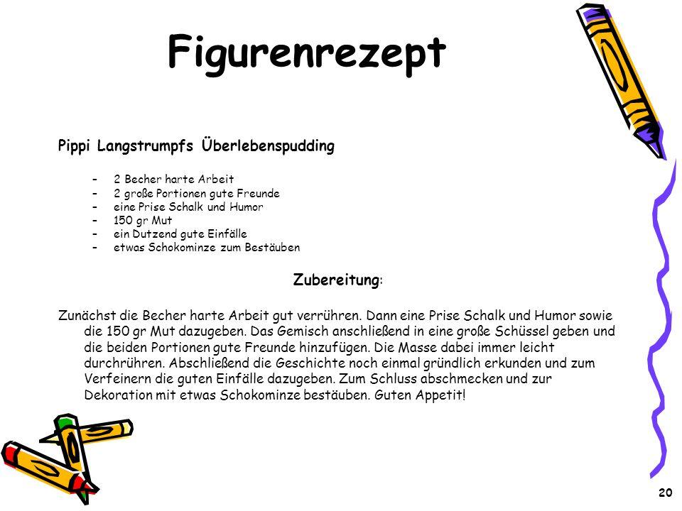 Figurenrezept Pippi Langstrumpfs Überlebenspudding Zubereitung: