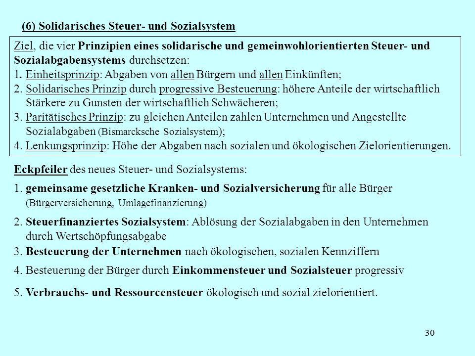 (6) Solidarisches Steuer- und Sozialsystem