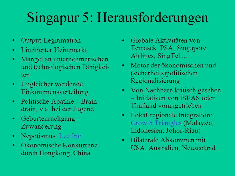 Singapur 5: Herausforderungen
