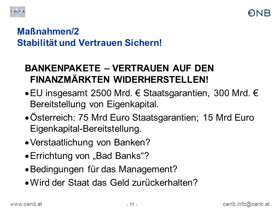 Maßnahmen/2 Stabilität und Vertrauen Sichern!
