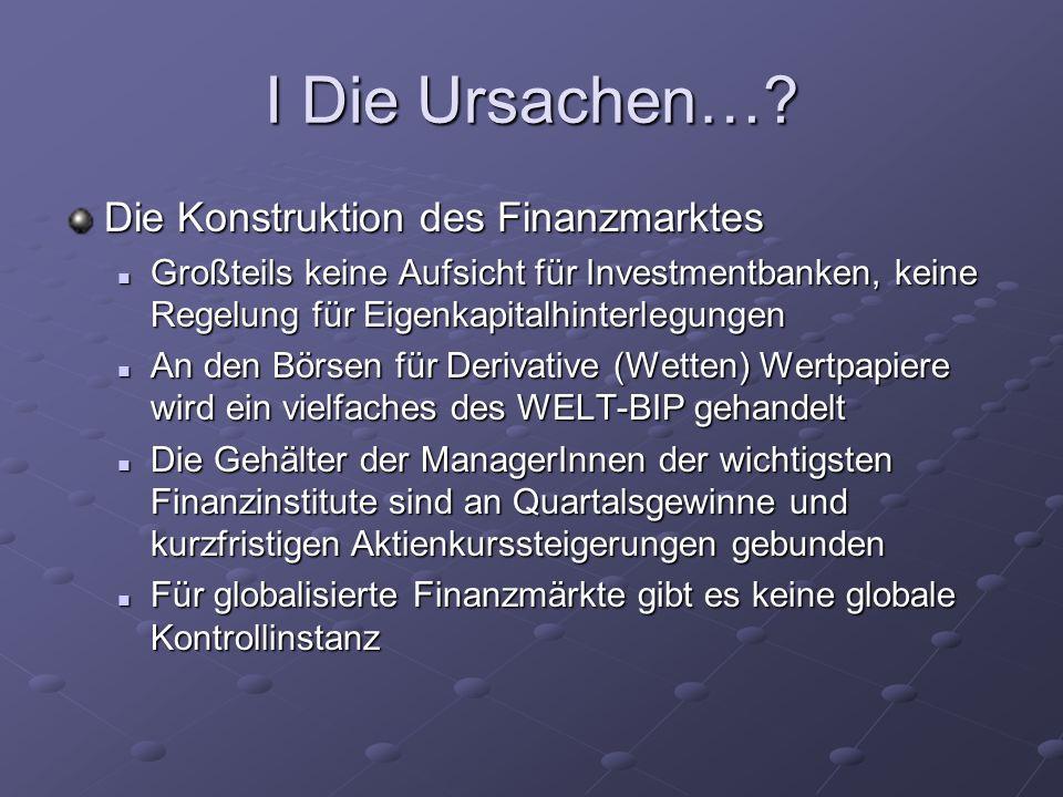 I Die Ursachen… Die Konstruktion des Finanzmarktes