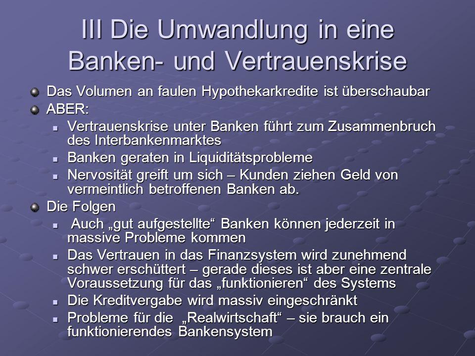 III Die Umwandlung in eine Banken- und Vertrauenskrise