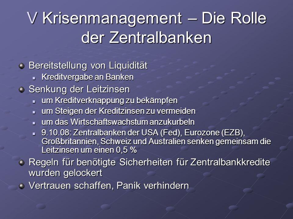 V Krisenmanagement – Die Rolle der Zentralbanken