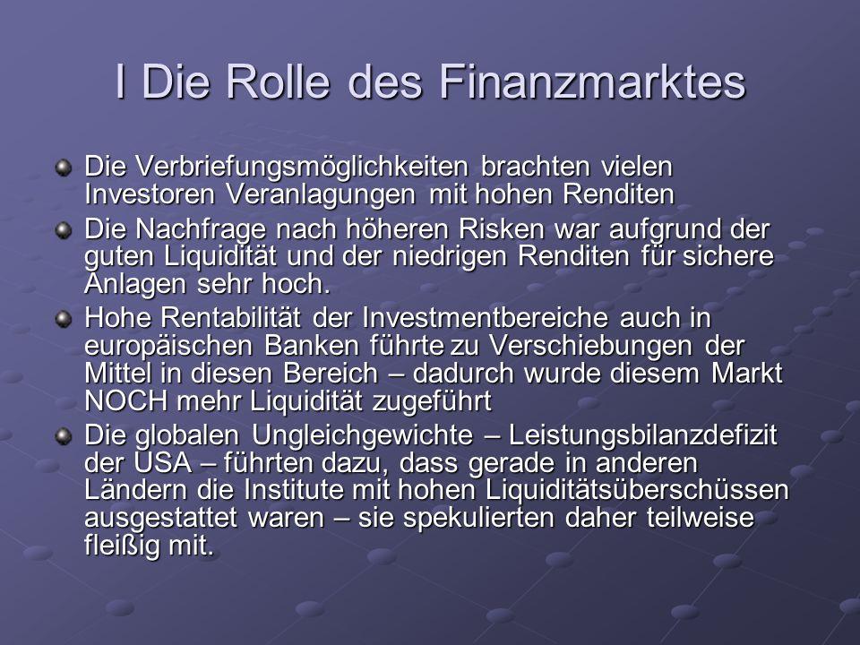 I Die Rolle des Finanzmarktes