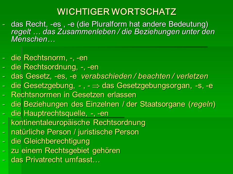 WICHTIGER WORTSCHATZ das Recht, -es , -e (die Pluralform hat andere Bedeutung) regelt … das Zusammenleben / die Beziehungen unter den Menschen…