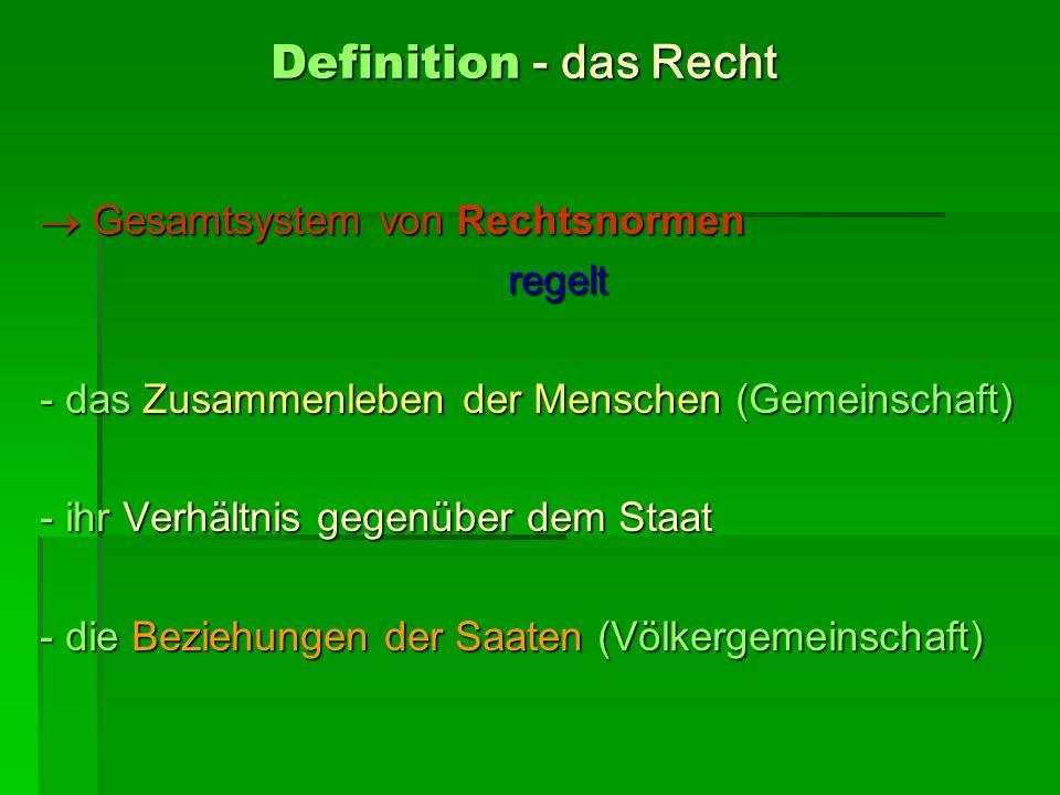 Definition - das Recht  Gesamtsystem von Rechtsnormen regelt