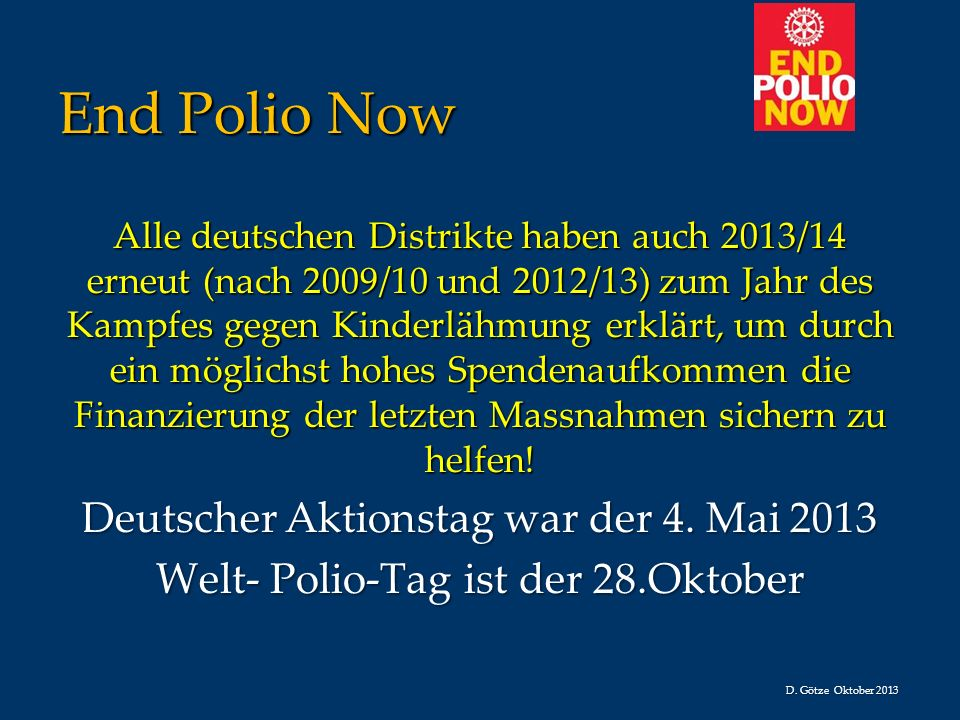 End Polio Now Deutscher Aktionstag war der 4. Mai 2013