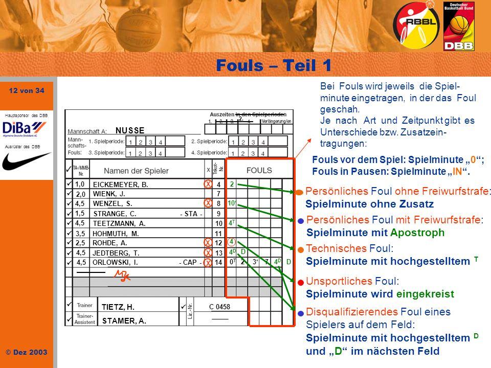 Fouls – Teil 1 Persönliches Foul ohne Freiwurfstrafe: