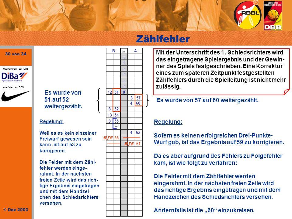 Zählfehler : B. A. 51. 12. 8. 57. 4. 60. 52. 13. 54. 55. – 62.