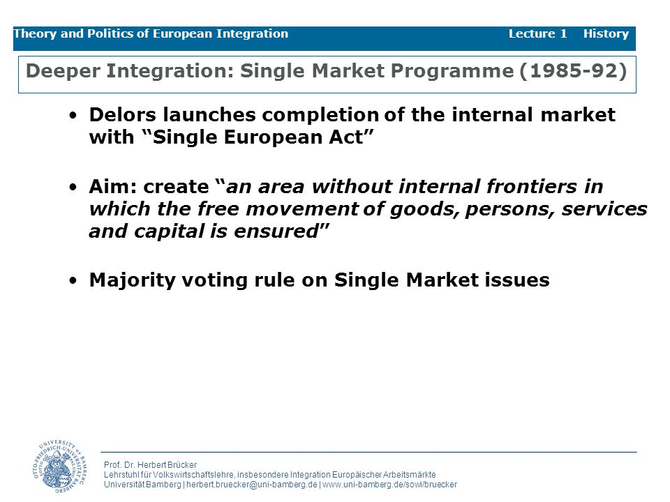 Deeper Integration: Single Market Programme (1985-92)