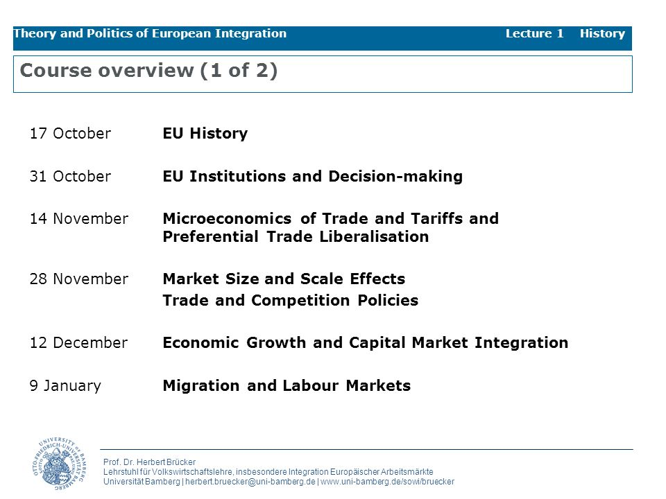 Course overview (1 of 2) 17 October EU History