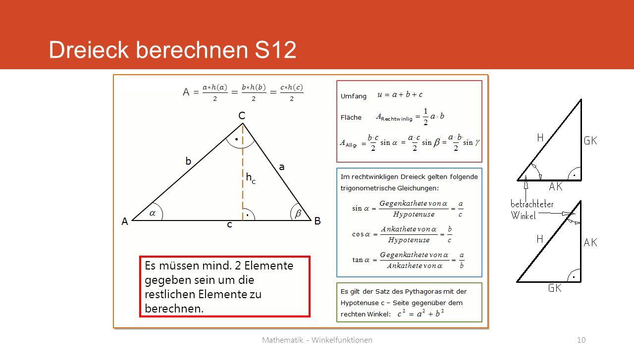 Mathematik - Winkelfunktionen