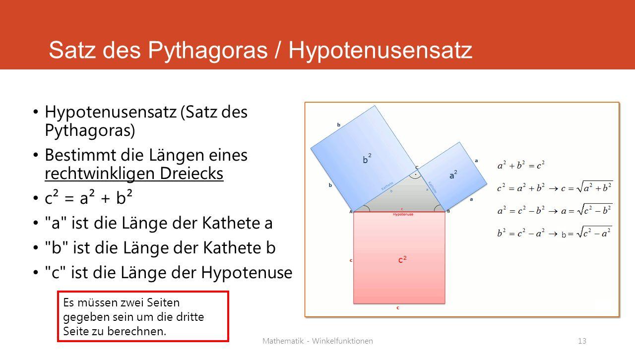 Satz des Pythagoras / Hypotenusensatz
