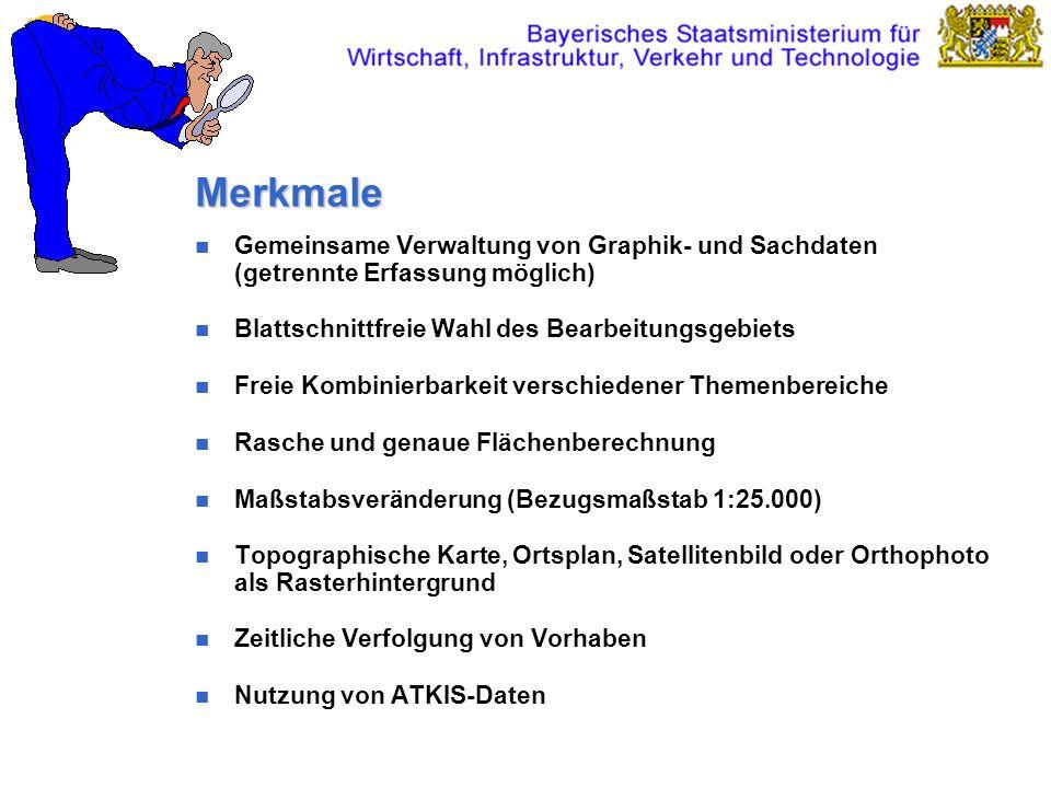 MerkmaleGemeinsame Verwaltung von Graphik- und Sachdaten (getrennte Erfassung möglich) Blattschnittfreie Wahl des Bearbeitungsgebiets.