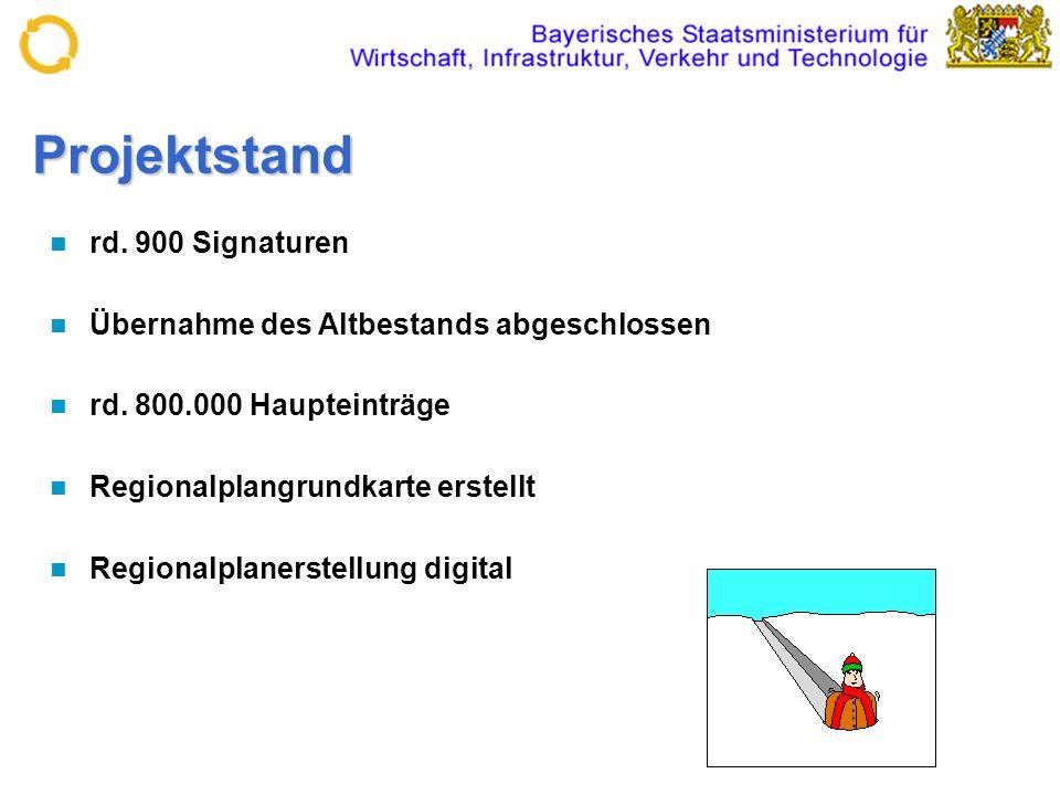 Projektstand rd. 900 Signaturen