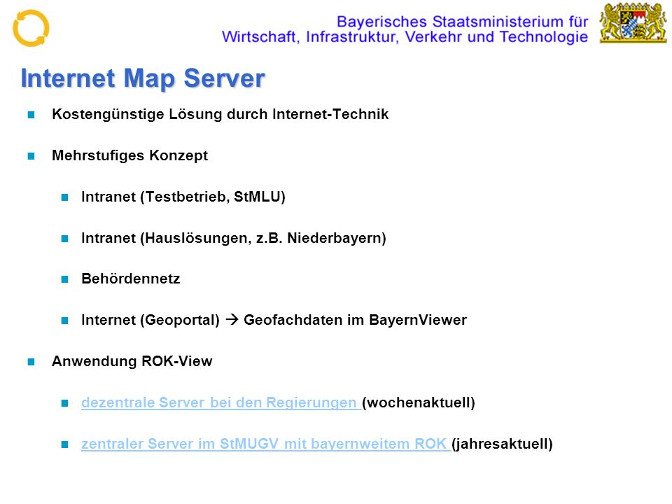 Internet Map Server Kostengünstige Lösung durch Internet-Technik