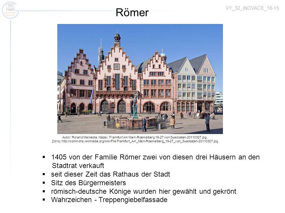 Römer 1405 von der Familie Römer zwei von diesen drei Häusern an den