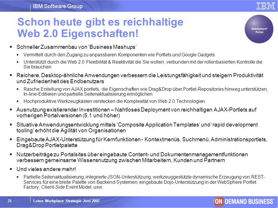 Schon heute gibt es reichhaltige Web 2.0 Eigenschaften!