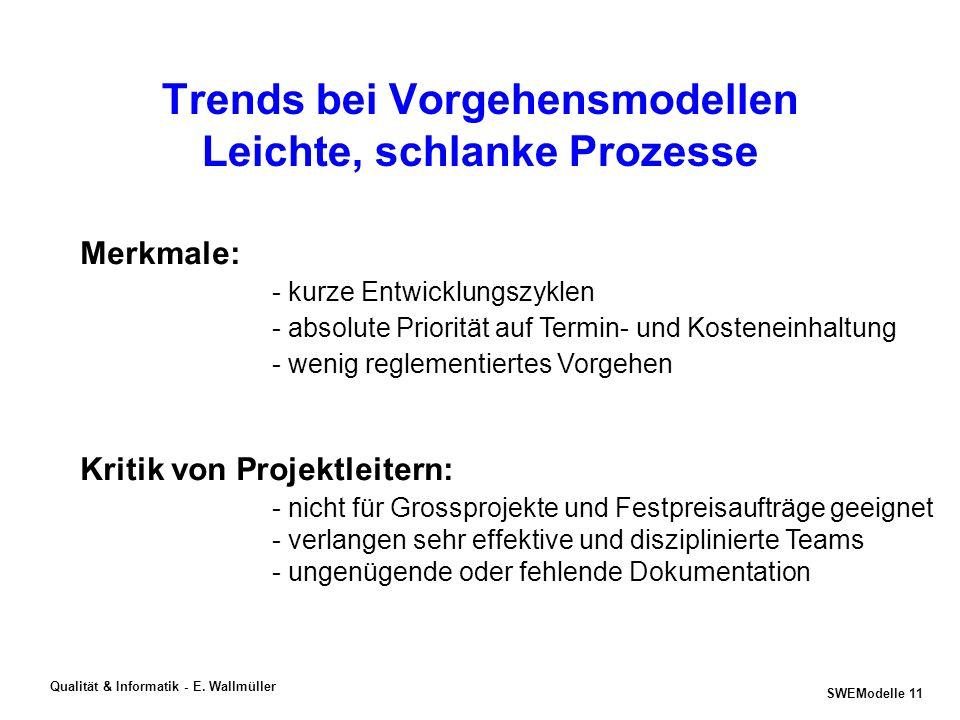 Trends bei Vorgehensmodellen Leichte, schlanke Prozesse