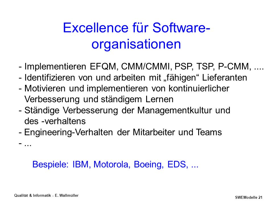 Excellence für Software-organisationen