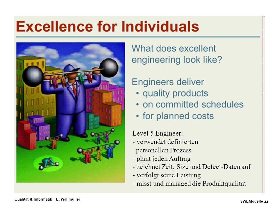Level 5 Engineer: - verwendet definierten. personellen Prozess. - plant jeden Auftrag. - zeichnet Zeit, Size und Defect-Daten auf.