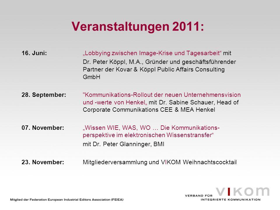 """Veranstaltungen 2011:16. Juni: """"Lobbying zwischen Image-Krise und Tagesarbeit mit."""