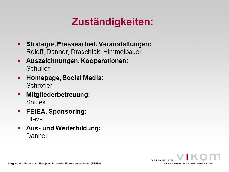 Zuständigkeiten:Strategie, Pressearbeit, Veranstaltungen: Roloff, Danner, Draschtak, Himmelbauer. Auszeichnungen, Kooperationen: Schuller.