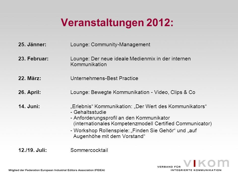 Veranstaltungen 2012: 25. Jänner: Lounge: Community-Management