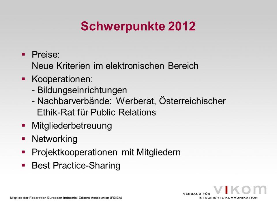 Schwerpunkte 2012 Preise: Neue Kriterien im elektronischen Bereich
