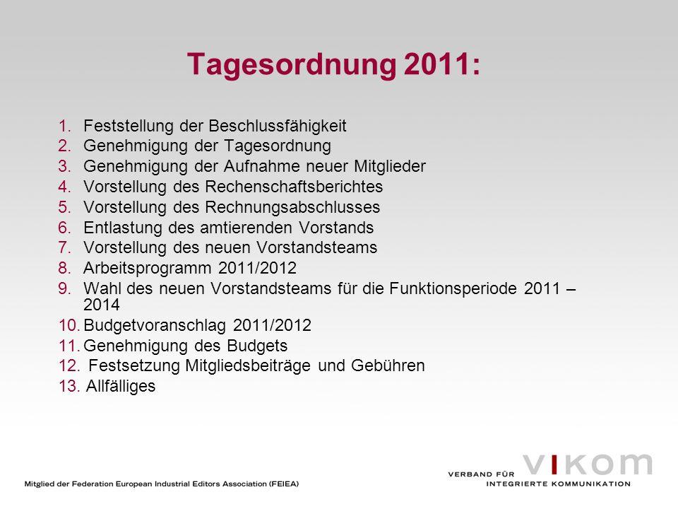 Tagesordnung 2011: Feststellung der Beschlussfähigkeit
