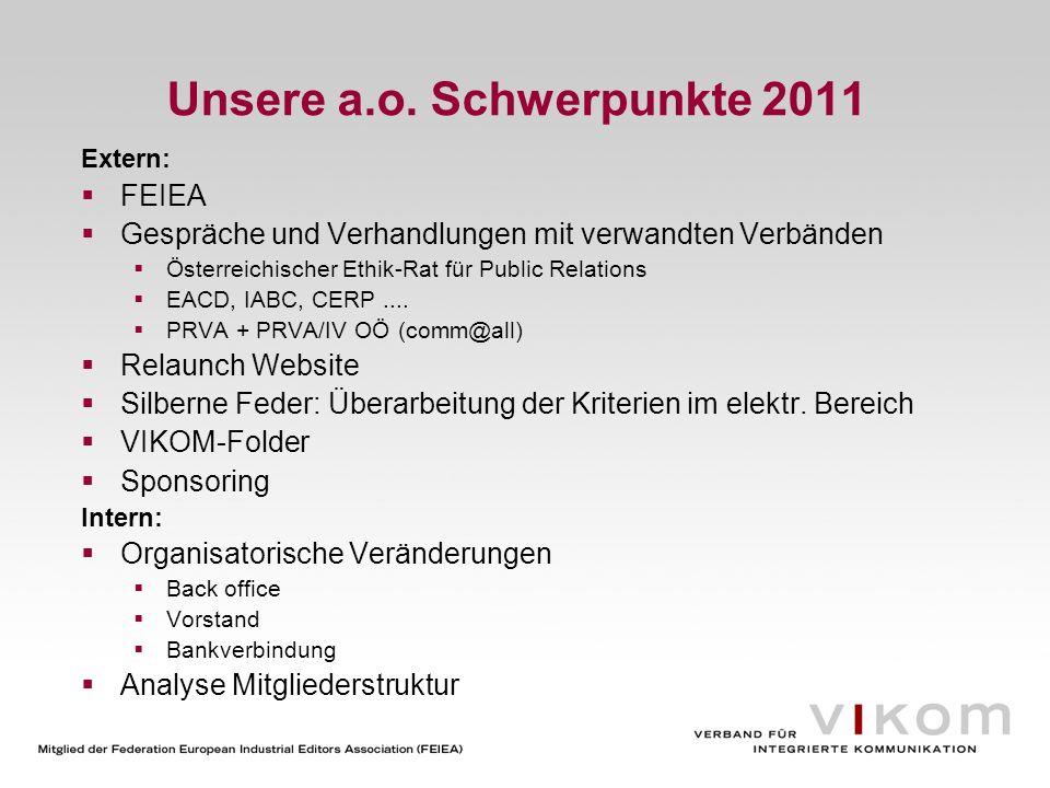 Unsere a.o. Schwerpunkte 2011