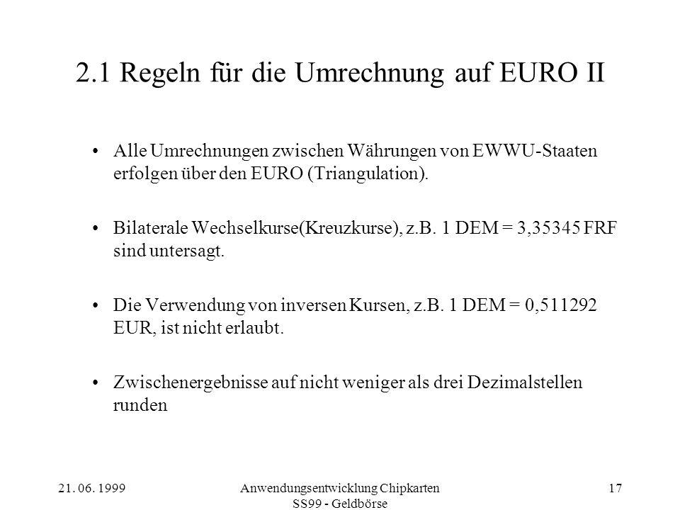 2.1 Regeln für die Umrechnung auf EURO II