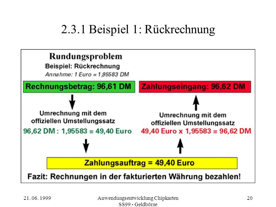 2.3.1 Beispiel 1: Rückrechnung