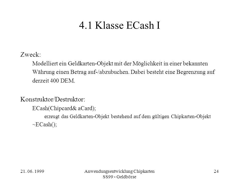 Anwendungsentwicklung Chipkarten SS99 - Geldbörse