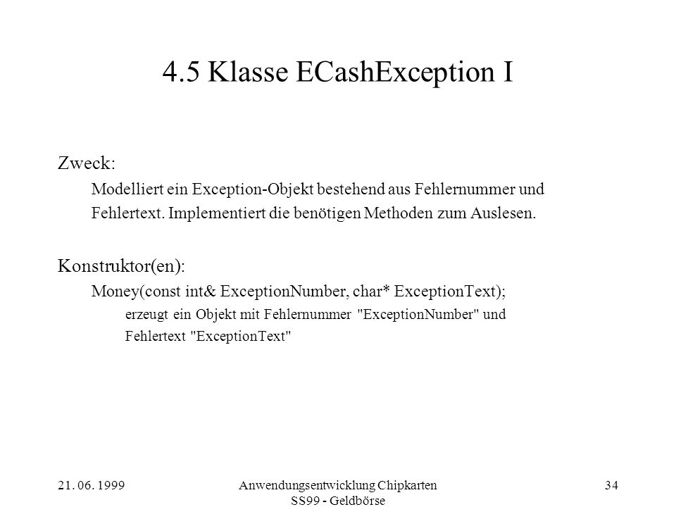 4.5 Klasse ECashException I