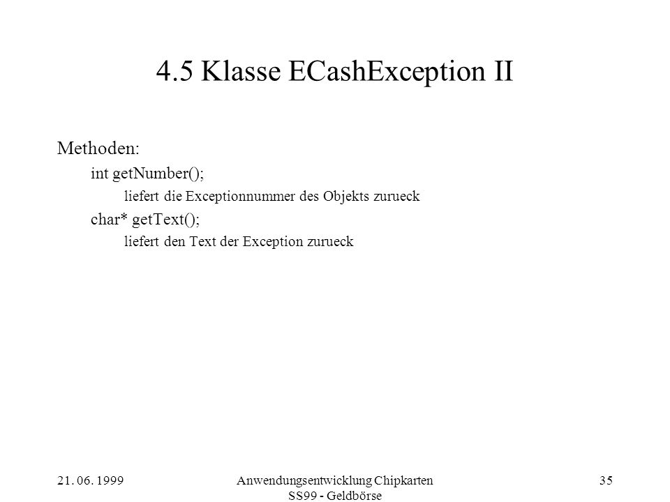 4.5 Klasse ECashException II