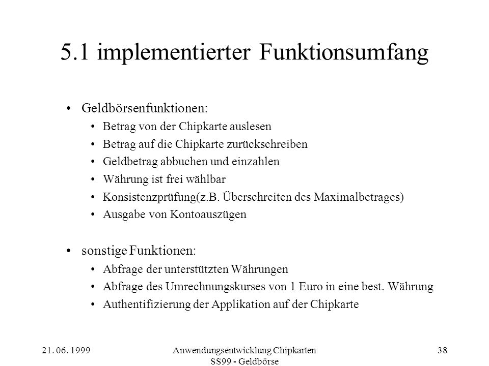 5.1 implementierter Funktionsumfang