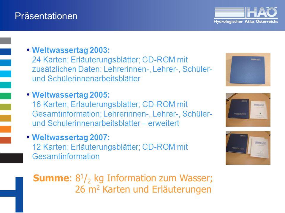 Summe: 81/2 kg Information zum Wasser; 26 m2 Karten und Erläuterungen