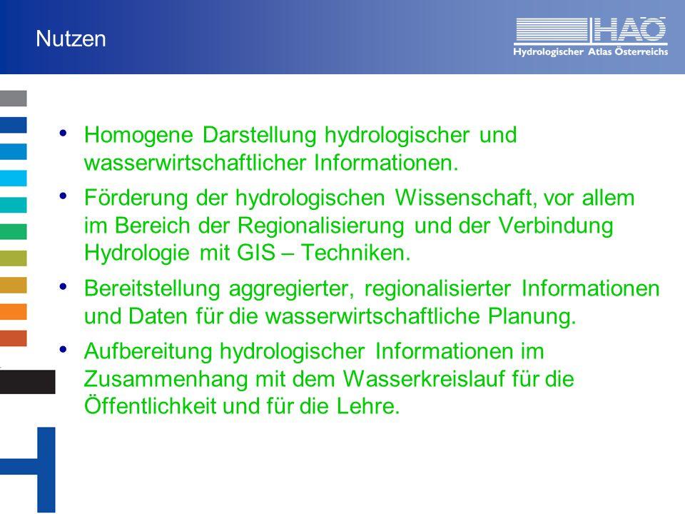 Nutzen Homogene Darstellung hydrologischer und wasserwirtschaftlicher Informationen.