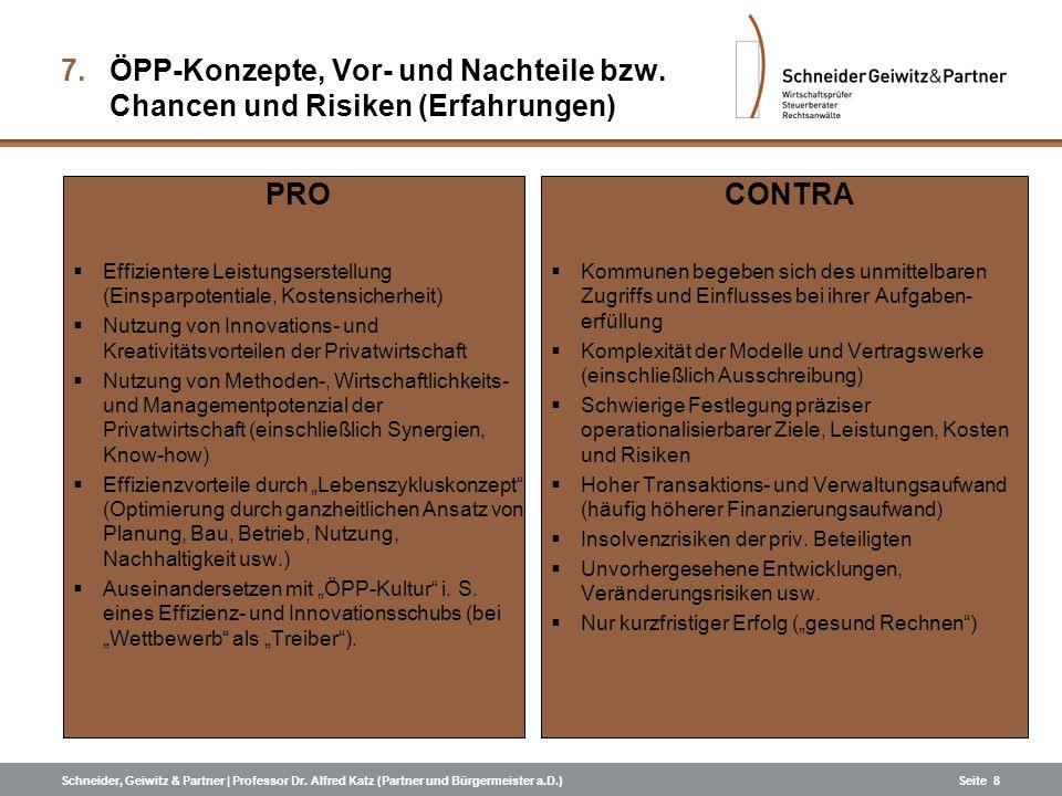 ÖPP-Konzepte, Vor- und Nachteile bzw. Chancen und Risiken (Erfahrungen)