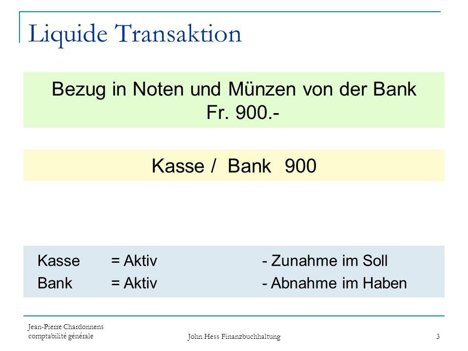 Liquide Transaktion Bezug in Noten und Münzen von der Bank Fr. 900.-