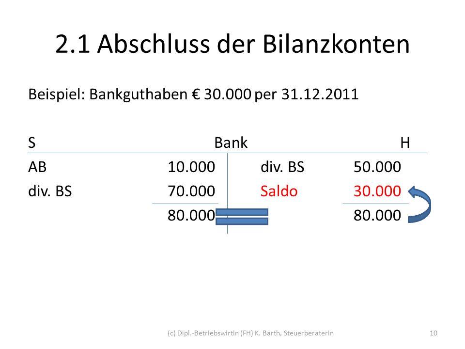 2.1 Abschluss der Bilanzkonten
