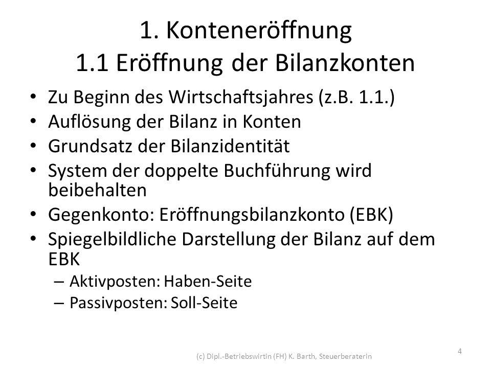 1. Konteneröffnung 1.1 Eröffnung der Bilanzkonten