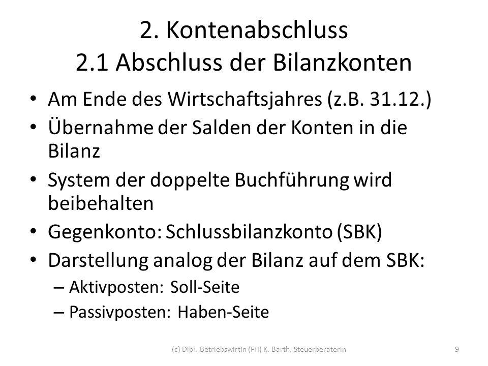 2. Kontenabschluss 2.1 Abschluss der Bilanzkonten