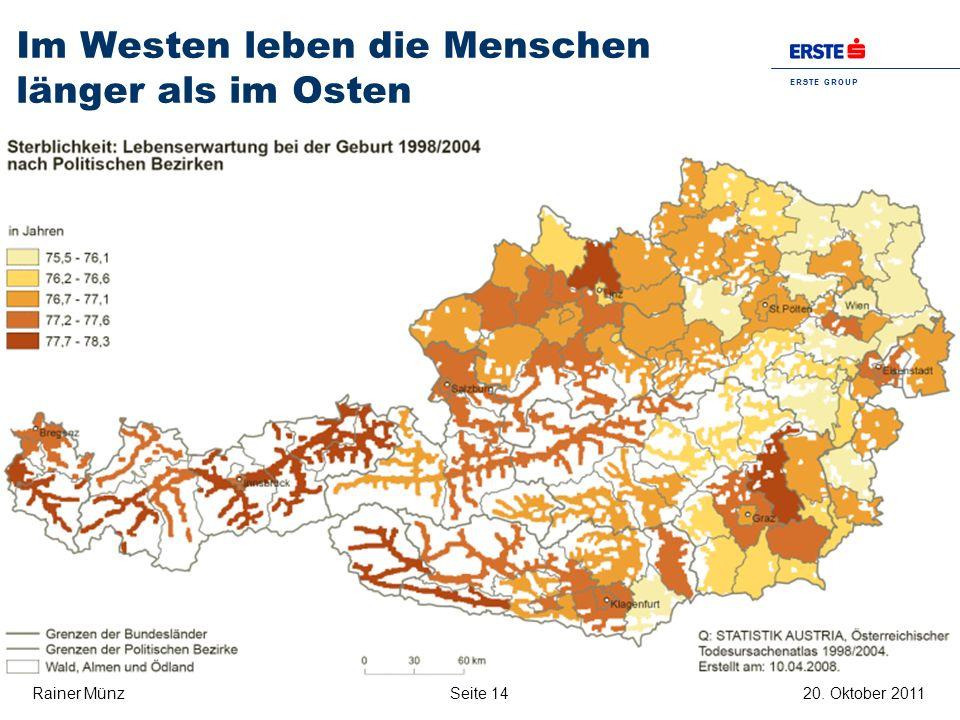 Im Westen leben die Menschen länger als im Osten
