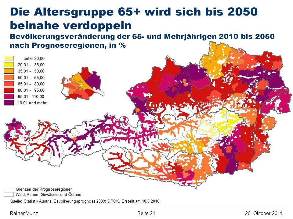Die Altersgruppe 65+ wird sich bis 2050 beinahe verdoppeln Bevölkerungsveränderung der 65- und Mehrjährigen 2010 bis 2050 nach Prognoseregionen, in %