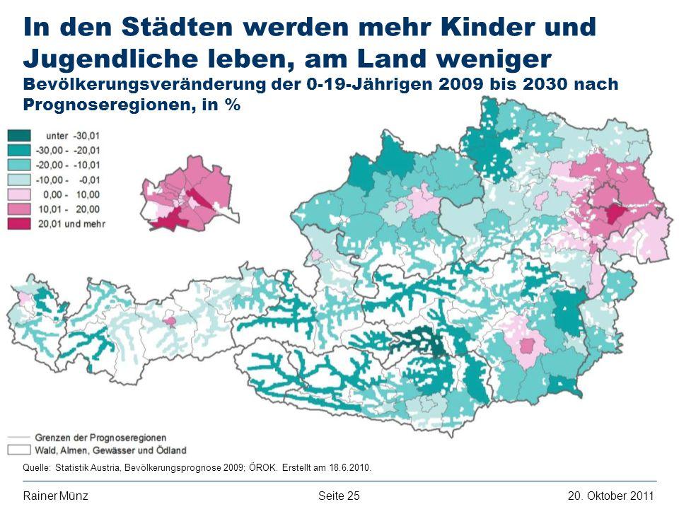 In den Städten werden mehr Kinder und Jugendliche leben, am Land weniger Bevölkerungsveränderung der 0-19-Jährigen 2009 bis 2030 nach Prognoseregionen, in %